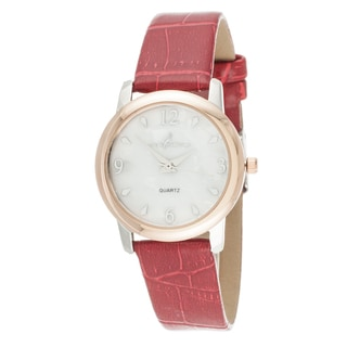 Via Nova Boyfriend Women's Rose Case and Red Leather Strap Watch