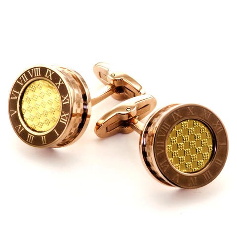James Cavolini Men's IP Gold Stainless Steel Two Tone Roman Numeral Cufflinks