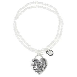 Roman Freshwater Pearl Heart Love Sentiment 2-Row Beaded Charm Bracelet