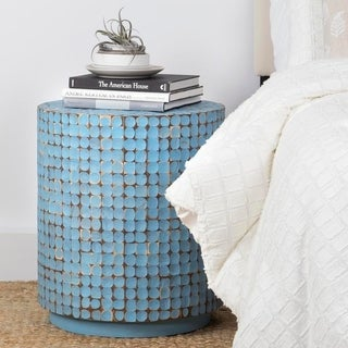 East At Main's Shelby Blue Round Side Table