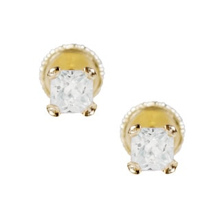 14k Yellow Gold and Cubic Zirconia Square Earrings