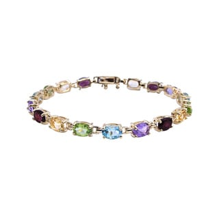 Yellow Gold-Over-Sterling Silver Multigemstone Tennis Bracelet