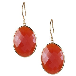 14k Yellow Gold Faceted Oval Carnelian Hook Dangling Earrings
