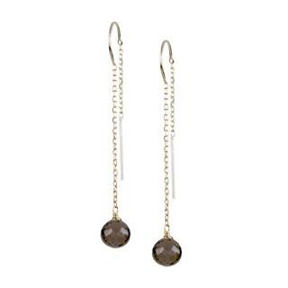 14k Yellow Gold Faceted Heart Smoky Quartz Dangle Earrings