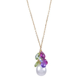 14K Yellow Gold Multi-gemstone Freshwater Pearl Necklace