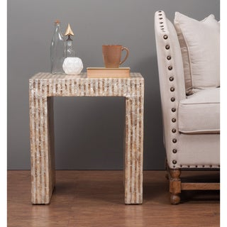 Brinson Off-white and Gold Square Capiz Side Table