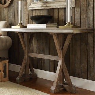 abbott rustic stainless steel strap oak trestle entryway sofa table by inspire q artisan