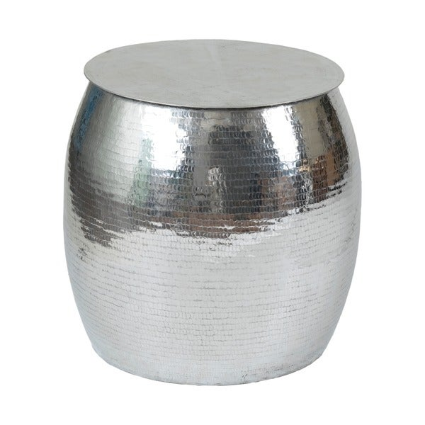 Shop Aurora Silver Round Side Table Free Shipping Today