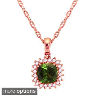 Beverly Hills Charms 10k Gold 1/14ct TDW Diamond and Green Tourmaline Halo Necklace (H-I, I2-I3)
