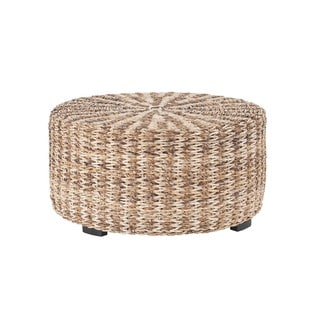 London Tan Abaca Round Coffee Table