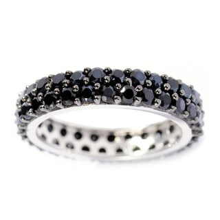 Sterling Silver 2.50cttw Black Spinel Double Row Eternity Band Ring