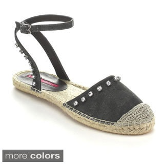 C Label ADLER-6 Women's Studded Rhinestone Ankle Strap Espadrille Flats
