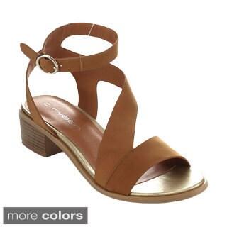 C Label TRISOLI-5 Women's Ankle Strap Chunky Heel
