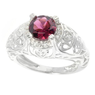 Sterling Silver 1 1/2ct TGW Rhodolite Garnet and White Topaz Ring