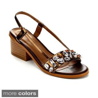 C Label WHITTY-7 Women's Gemstone Slingback Strap Chunky Heel
