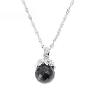Sterling Silver Round-cut Black Spinel & White Topaz Pendant Necklace