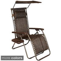 Extra Wide Gravity Lounge Chair With Sunshade And Side
