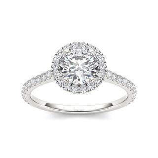 De Couer 14k White Gold 1 1/4ct TDW Diamond Halo Engagement Ring