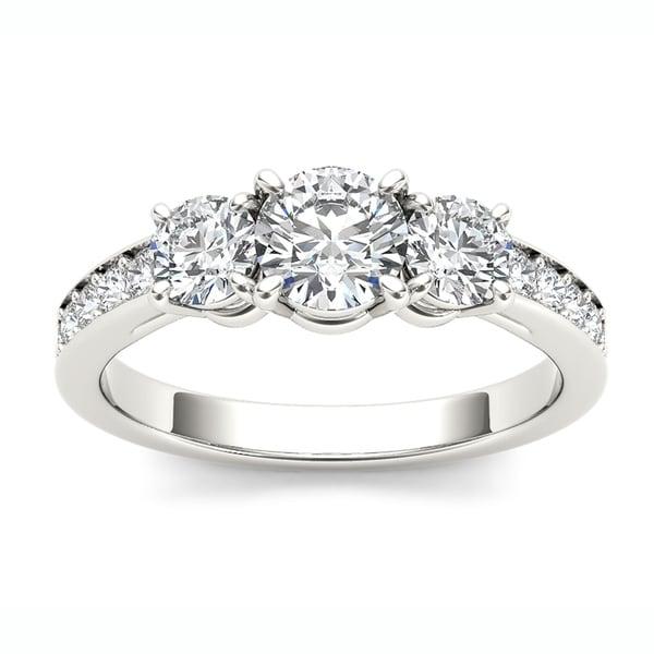 De Couer 14k White Gold 1 1/4ct TDW Diamond Three Stone Ring - White H-I