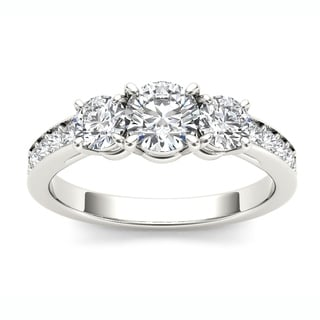 De Couer 14k White Gold 1 1/4ct TDW Diamond Three Stone Ring - White H-I