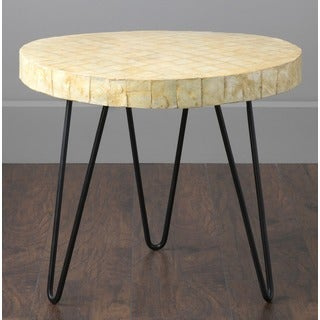 Lenexa Modern Off-White Round Accent Table