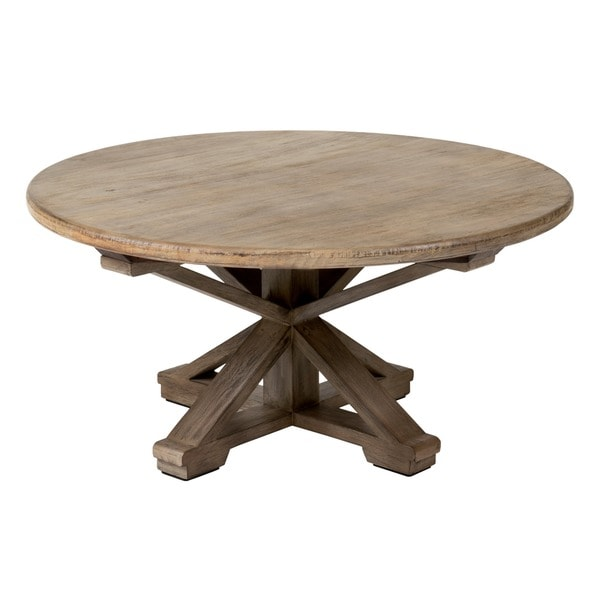Iola rustic brown round coffee table free shipping today for Rustic dark brown coffee table