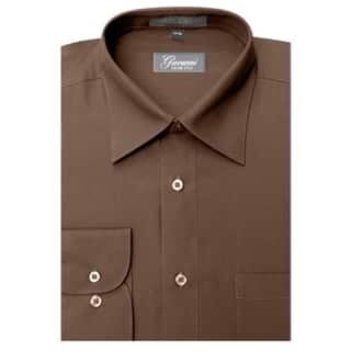 Giovonni Men's Brown Convertible Cuff Dress Shirt|https://ak1.ostkcdn.com/images/products/10132378/P17269359.jpg?impolicy=medium