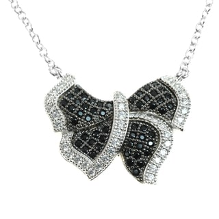 Michael Valitutti Silver Cubic Zirconia Butterfly Pendant