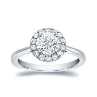 Auriya 14k White Gold 3/4ct TDW Certified Round Diamond Halo Engagement Ring (H-I, SI1-SI2)