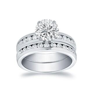 Auriya 14k White Gold 1 1/2ct TDW Certified Channel Ring Bridal Set