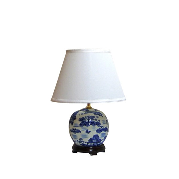 Crown Lighting Traditional 1-light Blue and White Canton Pagoda Round Table Lamp