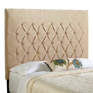 Humble + Haute Halifax Velvet Sand Tall Queen Diamond Tufted Upholstered Headboard