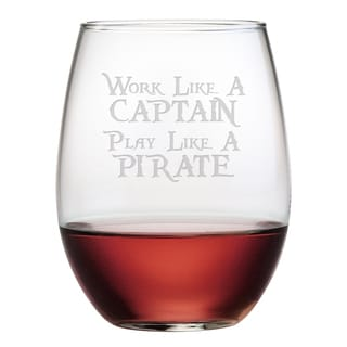 Work Like a Captain Stemless Wine Glasses (Set of 4)