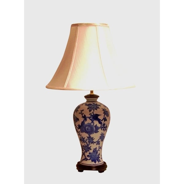 Crown Lighting Blue and White Traditional Birds and Flowers Pear Shaped Table Lamp