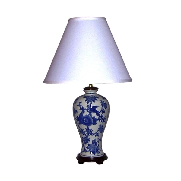 Crown lighting blue and white traditional birds and for O shaped table lamp