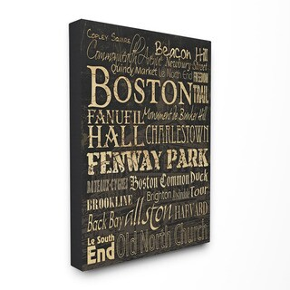 Stupell 'Boston City Landmarks Typography' Canvas Wall Art