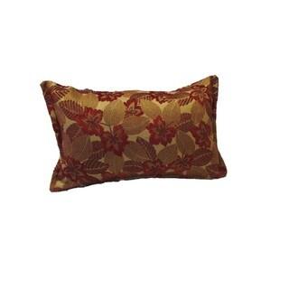 Corona Decor Red Mosaic Leaf Pattern Rectangular Decorative Pillow