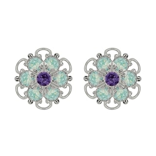 Lucia Costin Sterling Silver Mint Blue Violet Crystal Earrings Delicate Ornamented
