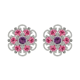 Lucia Costin Sterling Sterling Silver Violet Pink Austrian Crystal Earrings