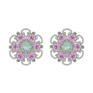 Lucia Costin Sterling Silver Mint Blue Lilac Crystal Earrings with Flower