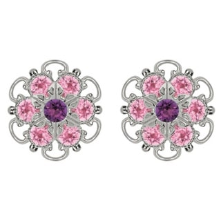 Lucia Costin Sterling Silver Light Pink Violet Austrian Crystal Earrings