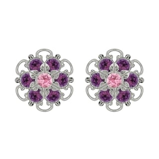 Lucia Costin Sterling Silver Violet Light Pink Crystal Earrings Fancy Garnished