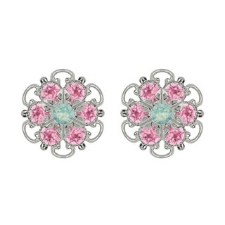 Lucia Costin Sterling Silver Mint Blue Light Pink Crystal Earrings