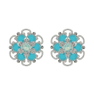 Lucia Costin Sterling Silver Mint Blue Turquoise Crystal Earrings with Dots