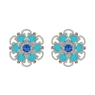Lucia Costin Sterling Silver Blue Turquoise Austrian Crystal Earrings Cute Embellished