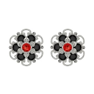 Lucia Costin Sterling Silver Red Black Austrian Crystal Earrings with Dots