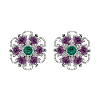 Lucia Costin Sterling Silver Green Violet Austrian Crystal Earrings with Flower
