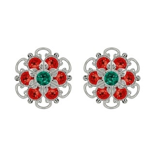 Lucia Costin Sterling Silver Green Red Austrian Crystal Earrings with Dots