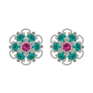 Lucia Costin Sterling Silver Fuchsia Turquoise Green Austrian Crystal Earrings