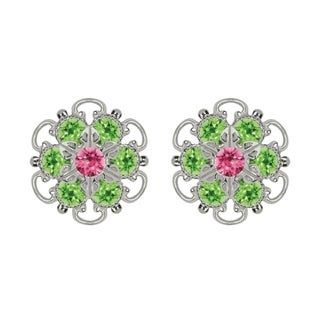Lucia Costin Sterling Silver Pink Light Green Austrian Crystal Earrings